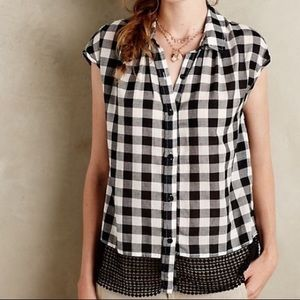 Holding Horse Check Gingham Lace Hem Top Button